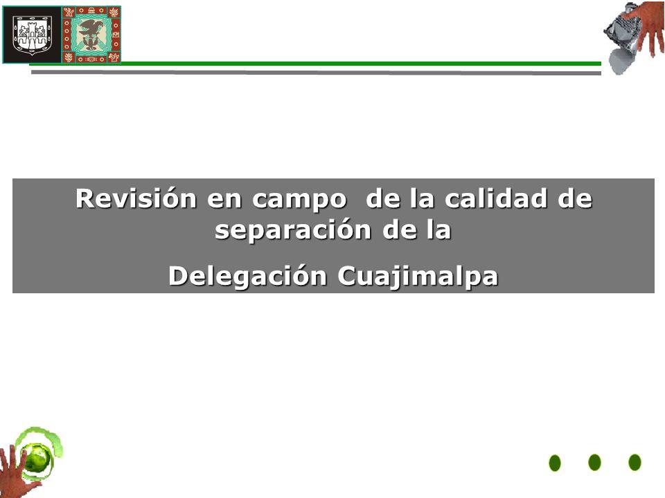 Revisión en campo de la calidad de separación de la Delegación Cuajimalpa