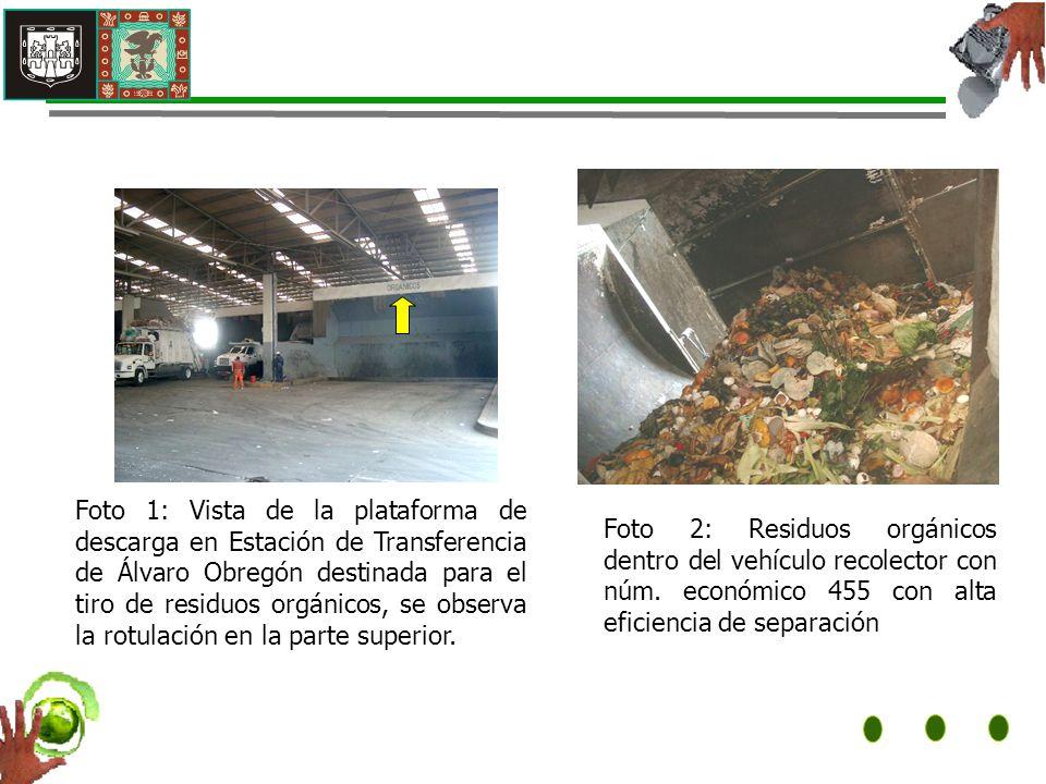 Foto 1: Vista de la plataforma de descarga en Estación de Transferencia de Álvaro Obregón destinada para el tiro de residuos orgánicos, se observa la rotulación en la parte superior.