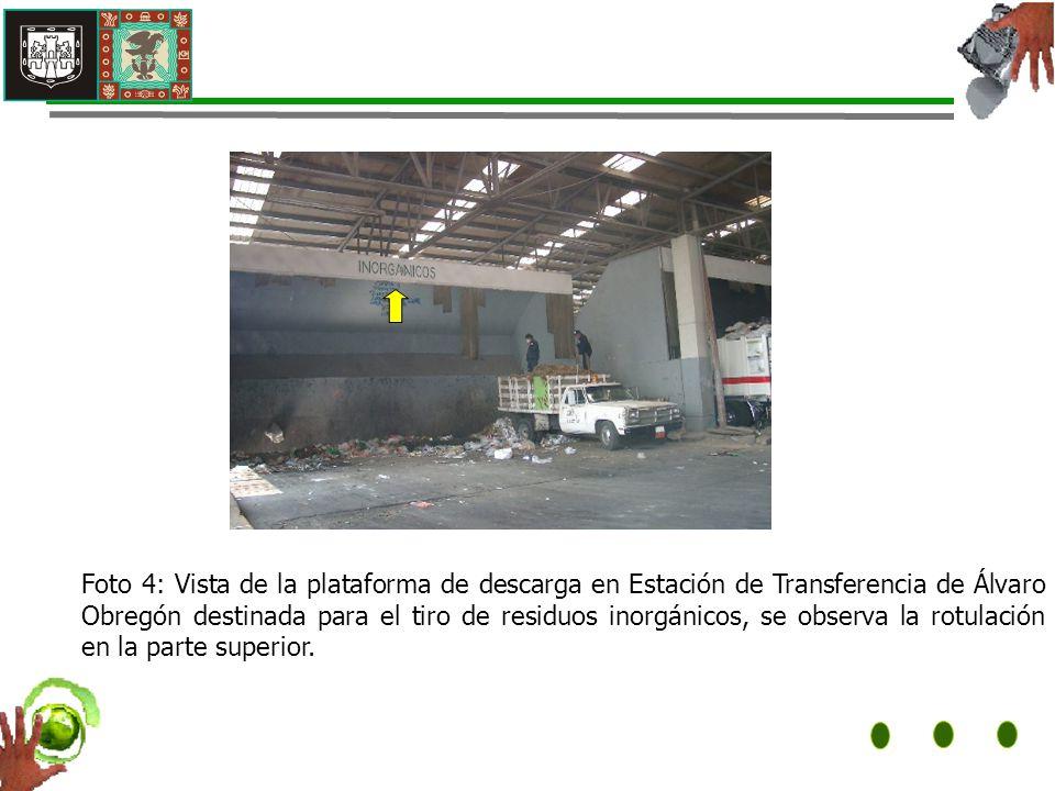 Foto 4: Vista de la plataforma de descarga en Estación de Transferencia de Álvaro Obregón destinada para el tiro de residuos inorgánicos, se observa la rotulación en la parte superior.