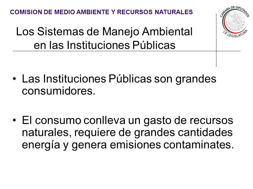 COMISION DE MEDIO AMBIENTE Y RECURSOS NATURALES Los Sistemas de Manejo Ambiental en las Instituciones Públicas Las Instituciones Públicas son grandes