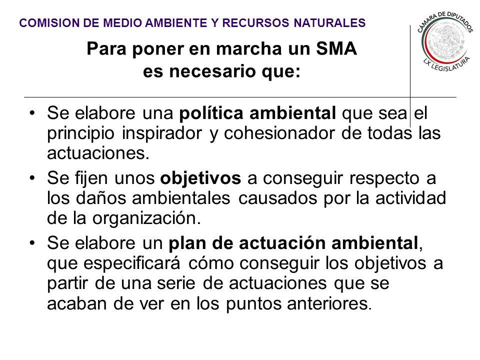 COMISION DE MEDIO AMBIENTE Y RECURSOS NATURALES Para poner en marcha un SMA es necesario que: Se elabore una política ambiental que sea el principio i