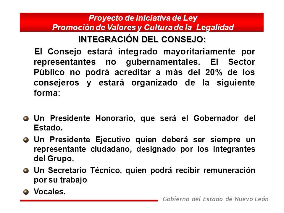 Gobierno del Estado de Nuevo León Proyecto de Iniciativa de Ley Promoción de Valores y Cultura de la Legalidad Promover la participación de los sectores y organizaciones de la sociedad, en la realización de las acciones derivadas del Programa.
