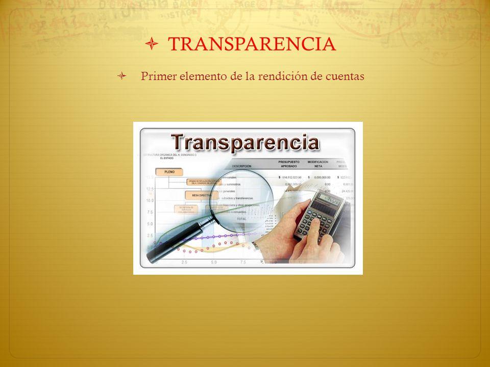 TRANSPARENCIA Primer elemento de la rendición de cuentas