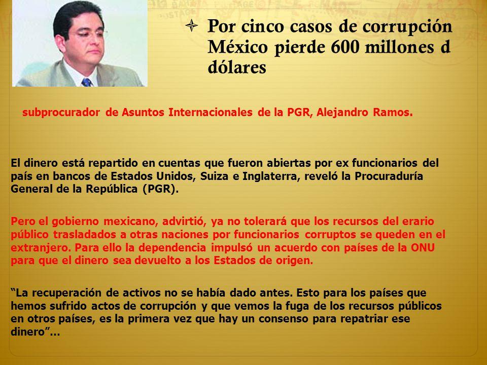 Por cinco casos de corrupción México pierde 600 millones d dólares El dinero está repartido en cuentas que fueron abiertas por ex funcionarios del paí