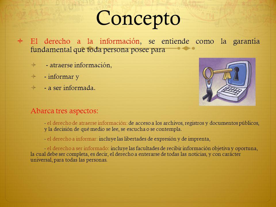 Concepto El derecho a la información, se entiende como la garantía fundamental que toda persona posee para - atraerse información, - informar y - a se