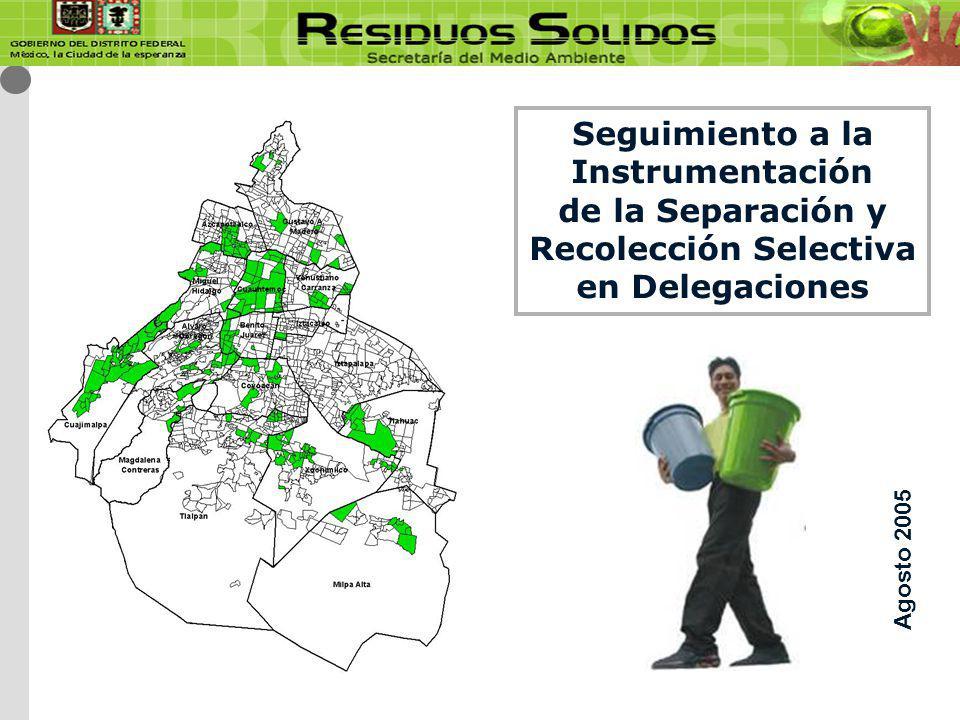 Seguimiento a la Instrumentación de la Separación y Recolección Selectiva en Delegaciones Agosto 2005