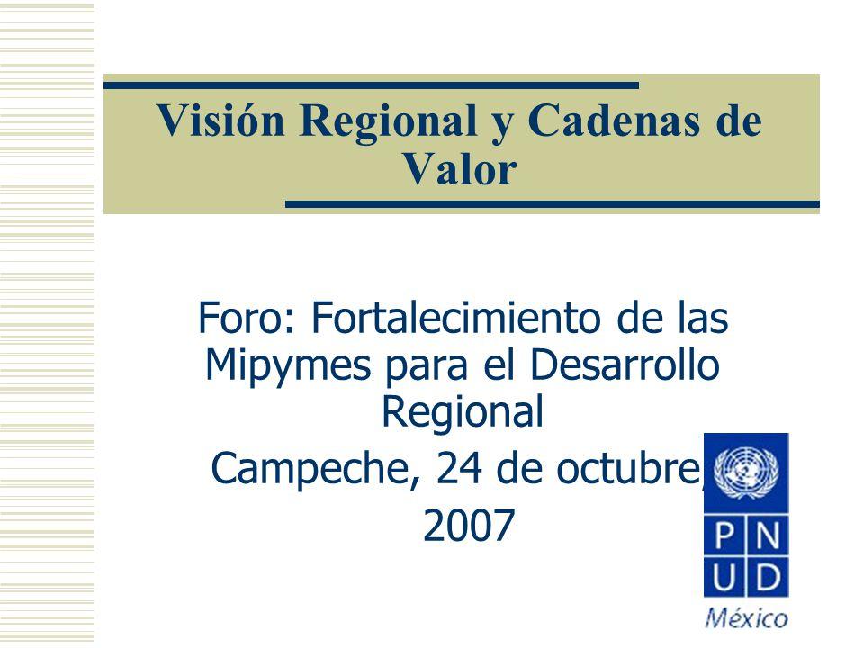 Visión Regional y Cadenas de Valor Foro: Fortalecimiento de las Mipymes para el Desarrollo Regional Campeche, 24 de octubre, 2007