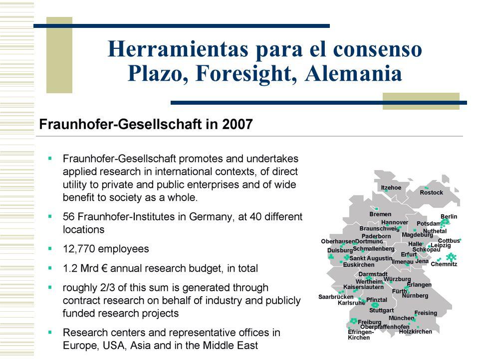 Herramientas para el consenso Plazo, Foresight, Alemania
