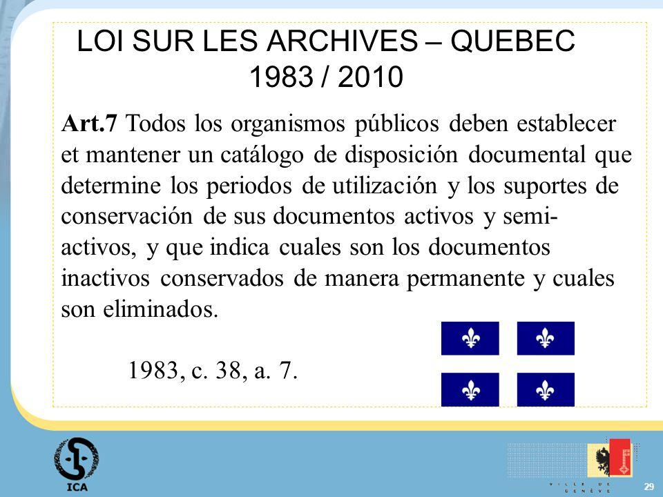 29 LOI SUR LES ARCHIVES – QUEBEC 1983 / 2010 Art.7 Todos los organismos públicos deben establecer et mantener un catálogo de disposición documental qu