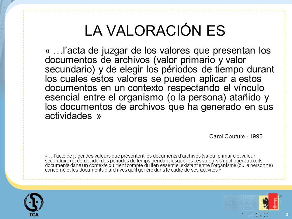 3 LA VALORACIÓN ES « …lacta de juzgar de los valores que presentan los documentos de archivos (valor primario y valor secundario) y de elegir los péri