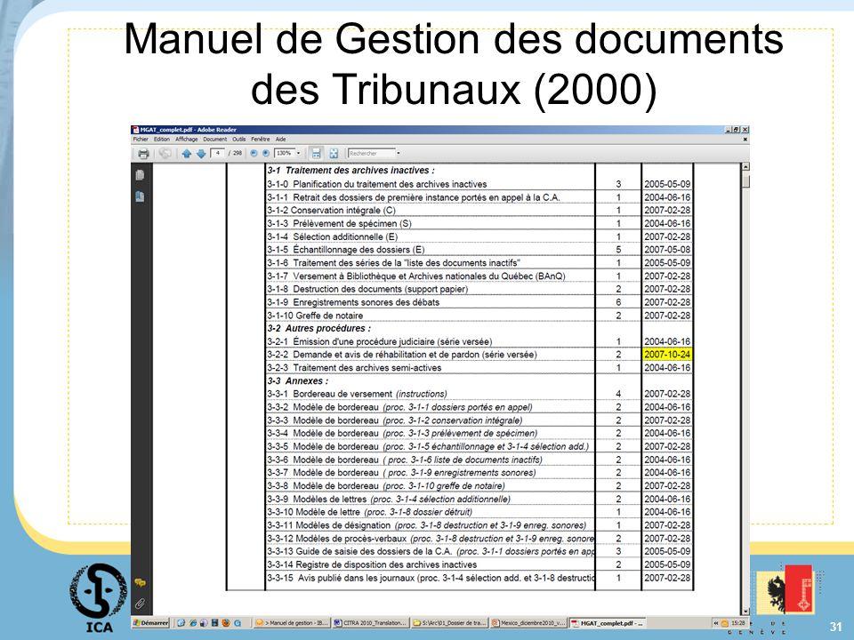 31 Manuel de Gestion des documents des Tribunaux (2000)