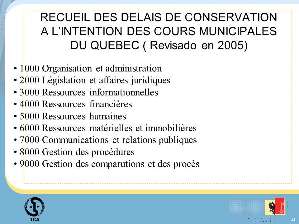33 RECUEIL DES DELAIS DE CONSERVATION A LINTENTION DES COURS MUNICIPALES DU QUEBEC ( Revisado en 2005) 1000 Organisation et administration 2000 Législ