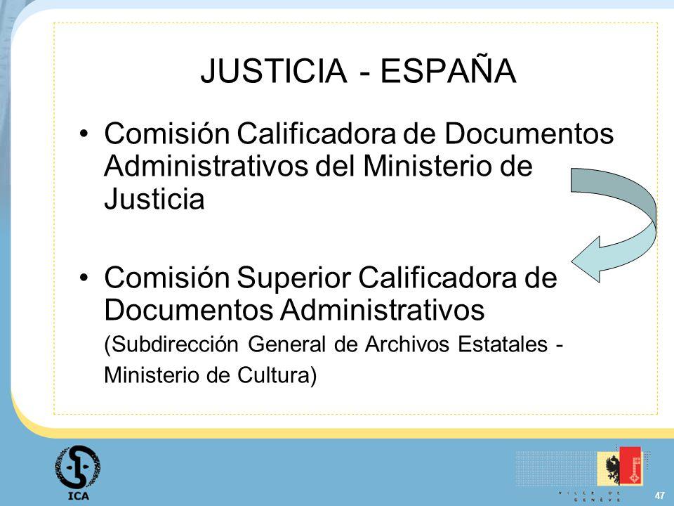 47 JUSTICIA - ESPAÑA Comisión Calificadora de Documentos Administrativos del Ministerio de Justicia Comisión Superior Calificadora de Documentos Admin