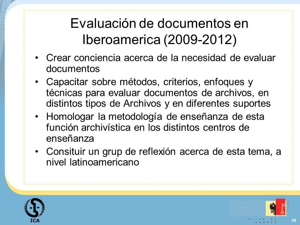 54 Evaluación de documentos en Iberoamerica (2009-2012) Crear conciencia acerca de la necesidad de evaluar documentos Capacitar sobre métodos, criteri