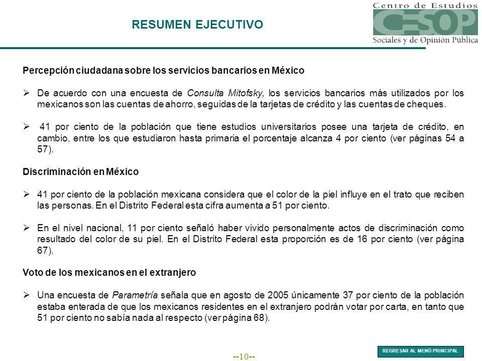 --10-- RESUMEN EJECUTIVO Percepción ciudadana sobre los servicios bancarios en México De acuerdo con una encuesta de Consulta Mitofsky, los servicios bancarios más utilizados por los mexicanos son las cuentas de ahorro, seguidas de la tarjetas de crédito y las cuentas de cheques.