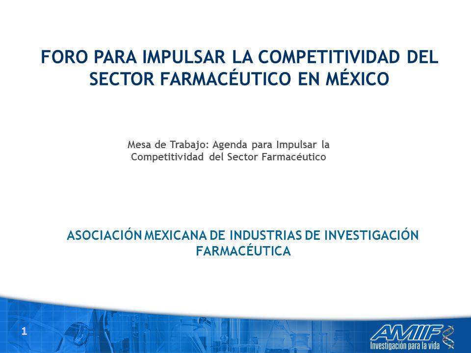 1 ASOCIACIÓN MEXICANA DE INDUSTRIAS DE INVESTIGACIÓN FARMACÉUTICA FORO PARA IMPULSAR LA COMPETITIVIDAD DEL SECTOR FARMACÉUTICO EN MÉXICO Mesa de Trabajo: Agenda para Impulsar la Competitividad del Sector Farmacéutico