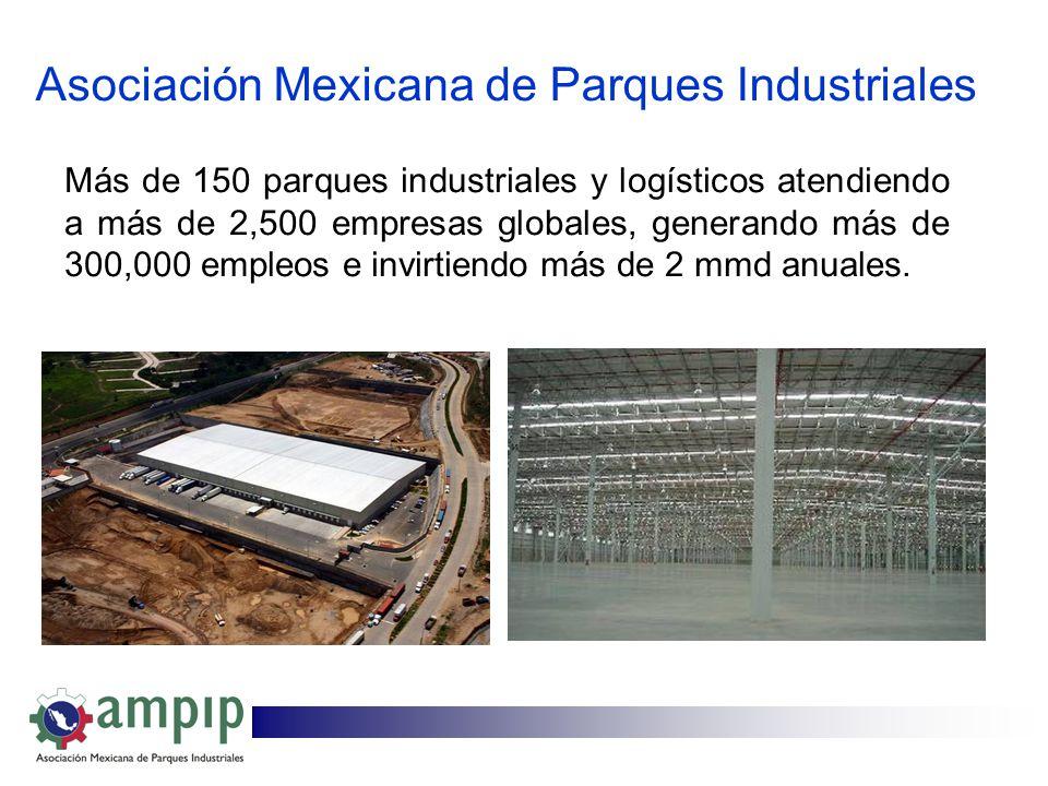 Asociación Mexicana de Parques Industriales Más de 150 parques industriales y logísticos atendiendo a más de 2,500 empresas globales, generando más de