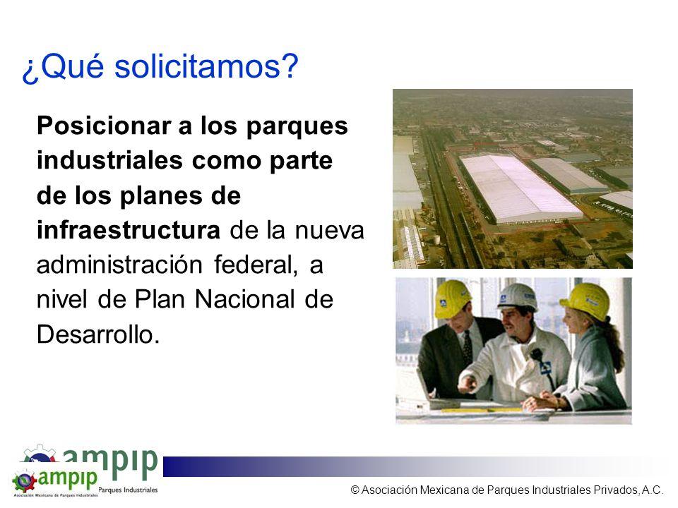 ¿Qué solicitamos? Posicionar a los parques industriales como parte de los planes de infraestructura de la nueva administración federal, a nivel de Pla