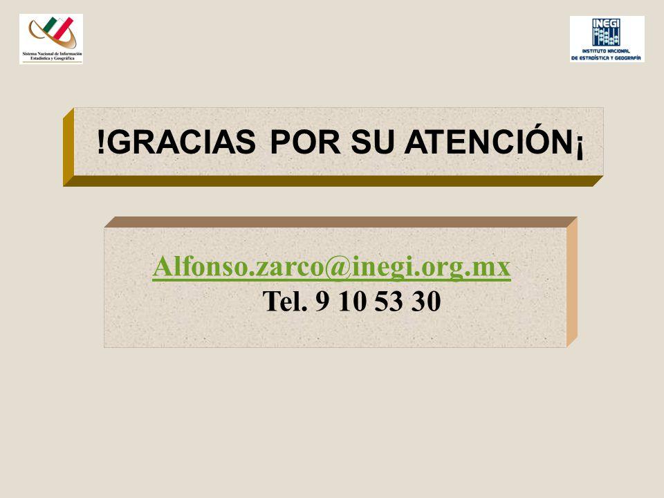 !GRACIAS POR SU ATENCIÓN¡ Alfonso.zarco@inegi.org.mx Tel. 9 10 53 30