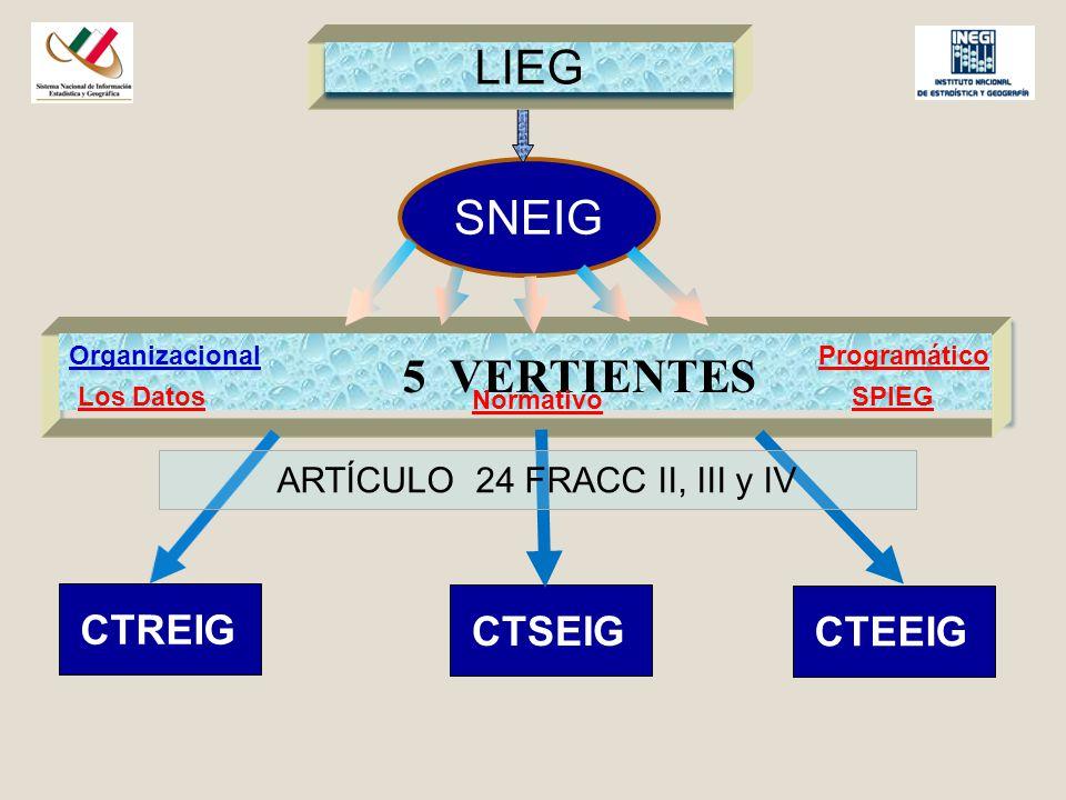 SNEIG 5 VERTIENTES CTREIG CTSEIG CTEEIG ARTÍCULO 24 FRACC II, III y IV LIEG OrganizacionalProgramático Normativo Los DatosSPIEG