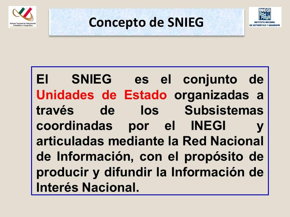 Concepto de SNIEG El SNIEG es el conjunto de Unidades de Estado organizadas a través de los Subsistemas coordinadas por el INEGI y articuladas mediante la Red Nacional de Información, con el propósito de producir y difundir la Información de Interés Nacional.