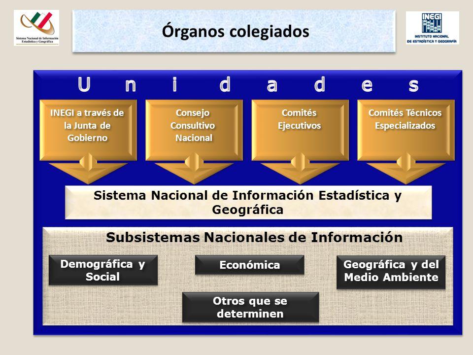 Subsistemas Nacionales de Información Consejo Consultivo Nacional Nacional INEGI a través de la Junta de Gobierno Comités Ejecutivos Comités Técnicos