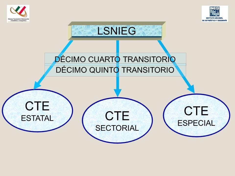 CTE ESTATAL LSNIEG CTE ESPECIAL CTE SECTORIAL DÉCIMO CUARTO TRANSITORIO DÉCIMO QUINTO TRANSITORIO