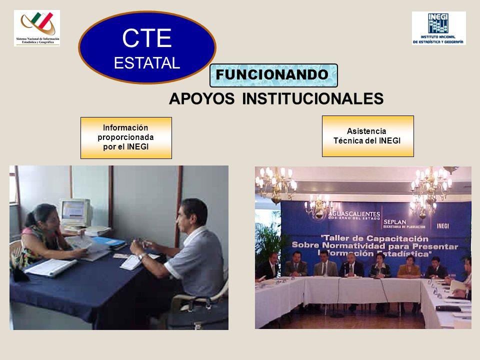 CTE ESTATAL FUNCIONANDO APOYOS INSTITUCIONALES Información proporcionada por el INEGI Asistencia Técnica del INEGI