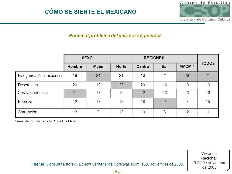 --64-- Principal problema del país por segmentos Fuente: Consulta Mitofsky, Boletín Semanal de Consulta, Núm.