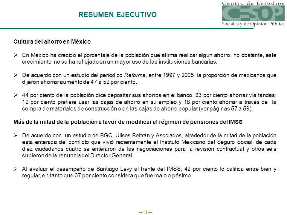 --11-- RESUMEN EJECUTIVO Cultura del ahorro en México En México ha crecido el porcentaje de la población que afirma realizar algún ahorro; no obstante, este crecimiento no se ha reflejado en un mayor uso de las instituciones bancarias.