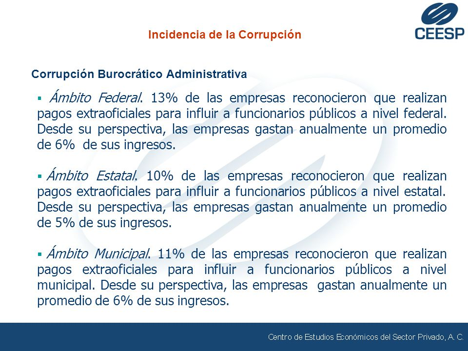 Corrupción Burocrático Administrativa Ámbito Federal. 13% de las empresas reconocieron que realizan pagos extraoficiales para influir a funcionarios p
