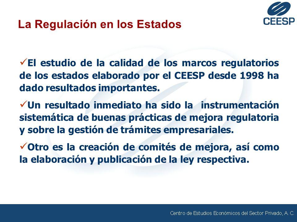 La Regulación en los Estados El estudio de la calidad de los marcos regulatorios de los estados elaborado por el CEESP desde 1998 ha dado resultados importantes.