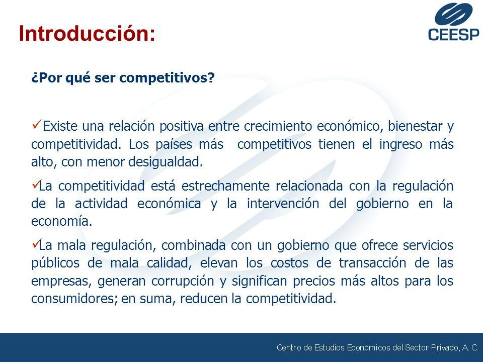 Introducción: ¿Por qué ser competitivos? Existe una relación positiva entre crecimiento económico, bienestar y competitividad. Los países más competit