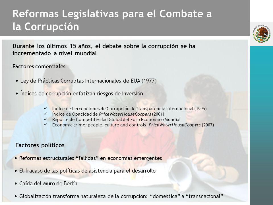 Reformas Legislativas para el Combate a la Corrupción Durante los últimos 15 años, el debate sobre la corrupción se ha incrementado a nivel mundial Fa