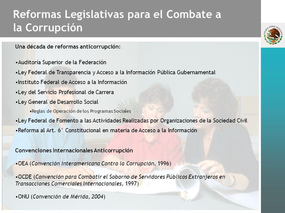 Reformas Legislativas para el Combate a la Corrupción Puntuación del IPC 19971998199920002001200220032004200520062007 México 2.63.33.43.33.73.6 3.53.33.5 Índice de Percepción de la Corrupción (IPC) Transparencia Internacional Déficit de confianza en las instituciones Cultura cívica; Desfase entre valores y acciones materiales Participación Política de Estado en el Combate a la Corrupción Percepción de impunidad-desigualdad