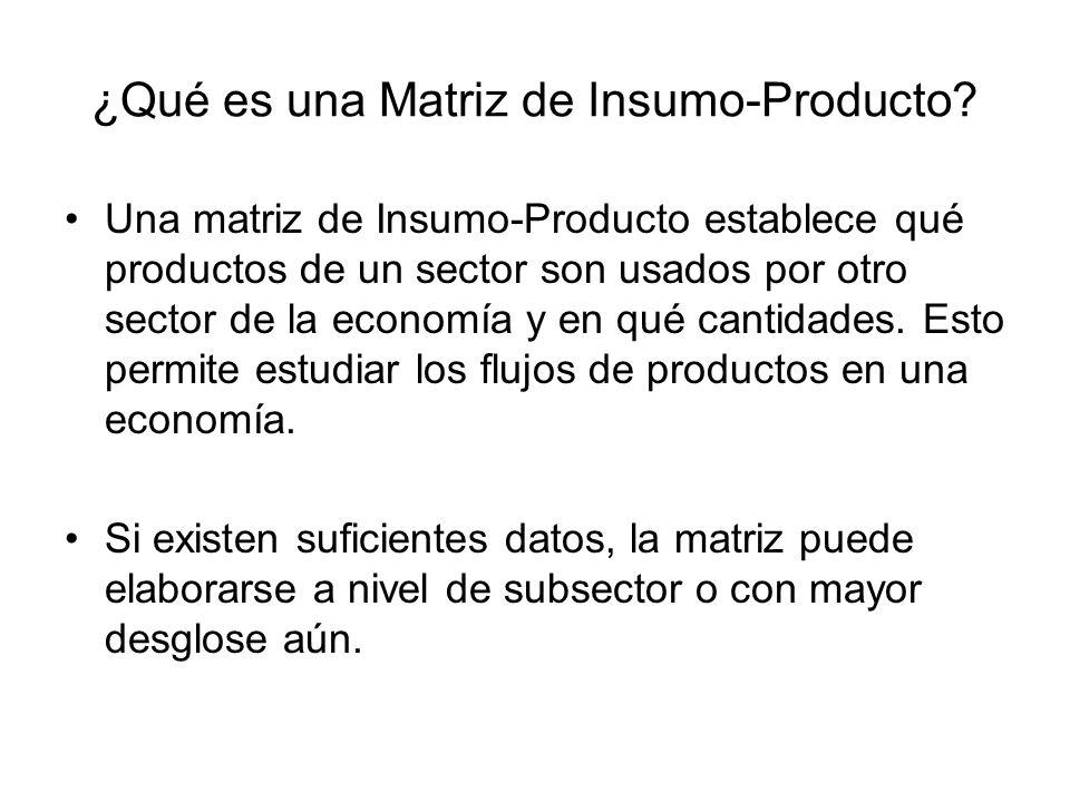¿Qué es una Matriz de Insumo-Producto? Una matriz de Insumo-Producto establece qué productos de un sector son usados por otro sector de la economía y