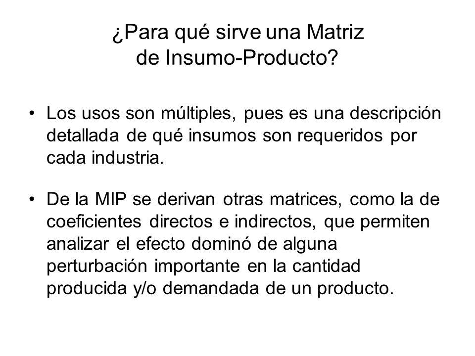 ¿Para qué sirve una Matriz de Insumo-Producto? Los usos son múltiples, pues es una descripción detallada de qué insumos son requeridos por cada indust