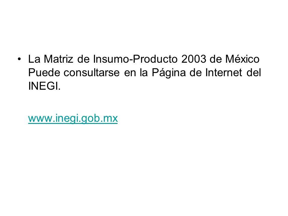 La Matriz de Insumo-Producto 2003 de México Puede consultarse en la Página de Internet del INEGI. www.inegi.gob.mx
