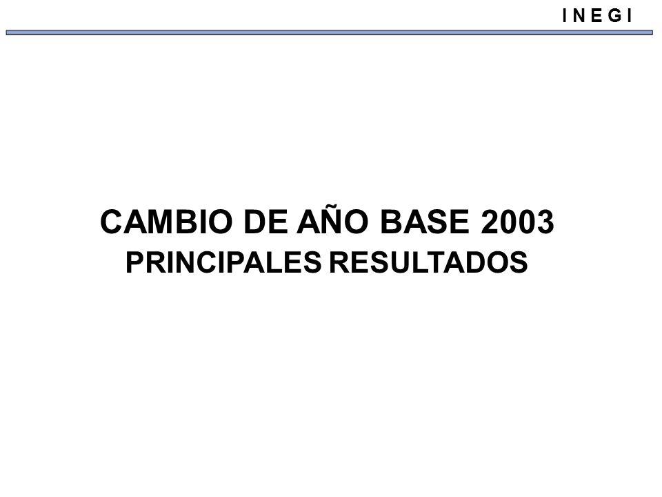 CAMBIO DE AÑO BASE 2003 PRINCIPALES RESULTADOS I N E G I