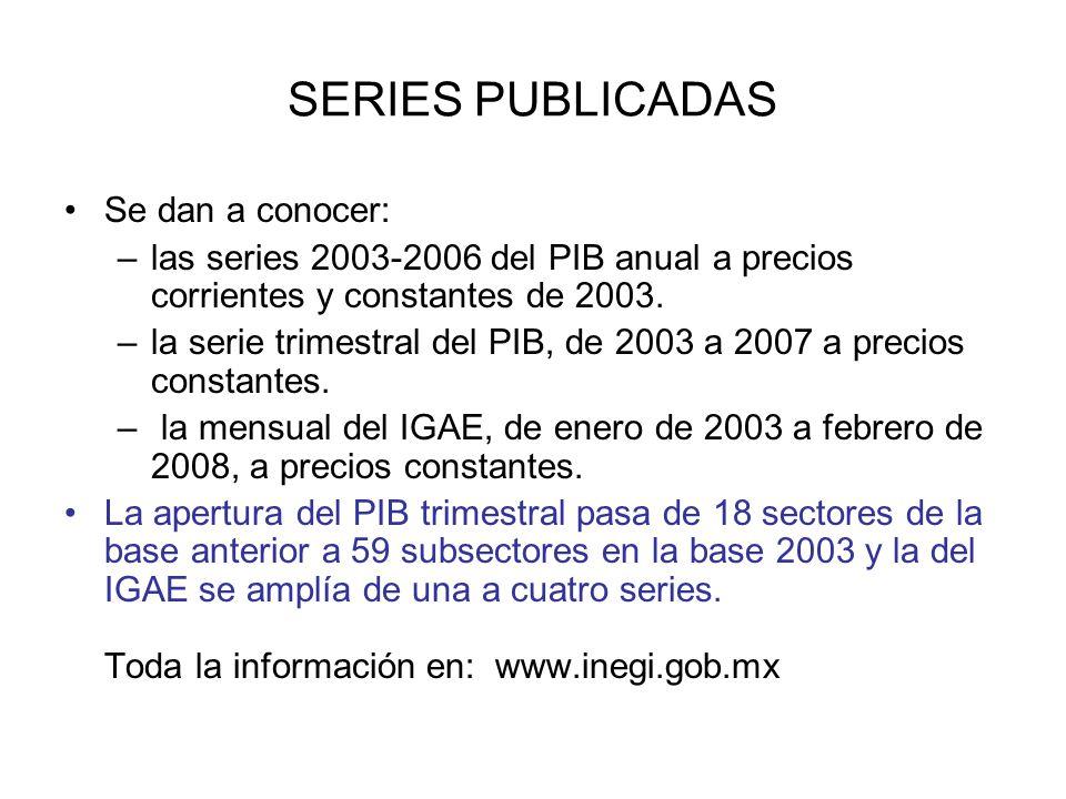 SERIES PUBLICADAS Se dan a conocer: –las series 2003-2006 del PIB anual a precios corrientes y constantes de 2003. –la serie trimestral del PIB, de 20