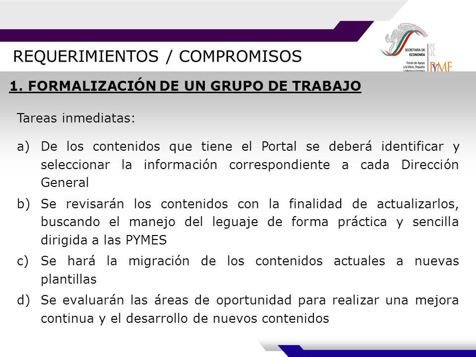 REQUERIMIENTOS / COMPROMISOS 1.