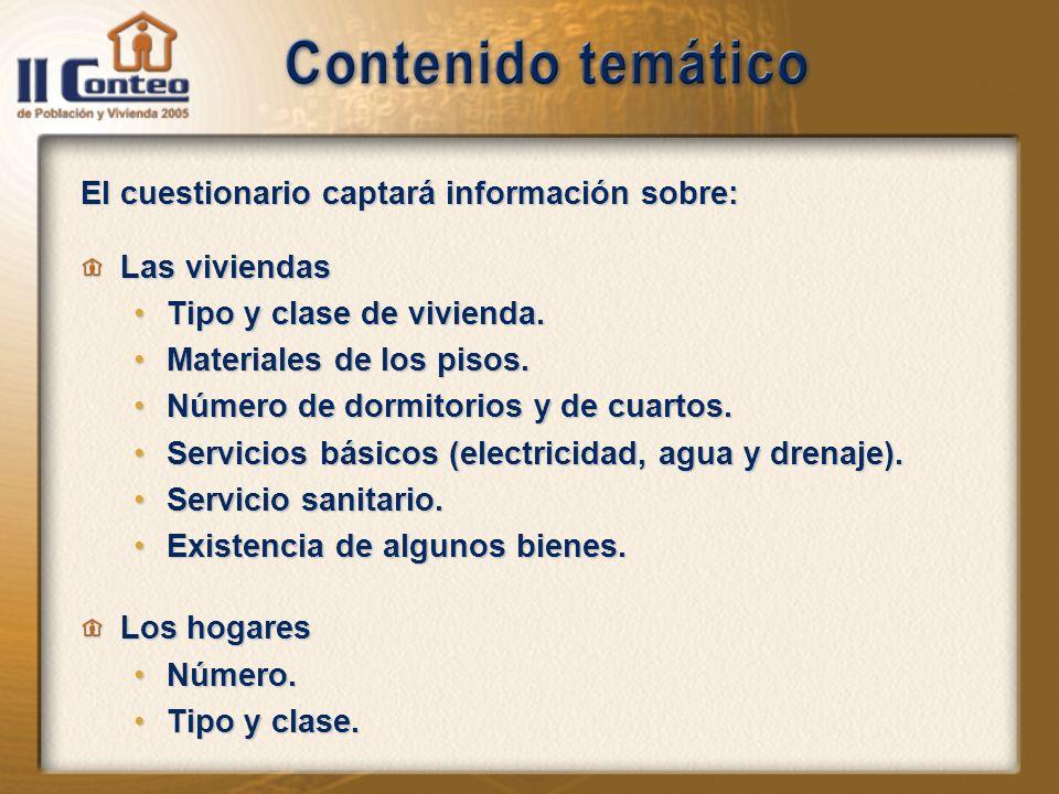 El cuestionario captará información sobre: Las viviendas Tipo y clase de vivienda.Tipo y clase de vivienda.