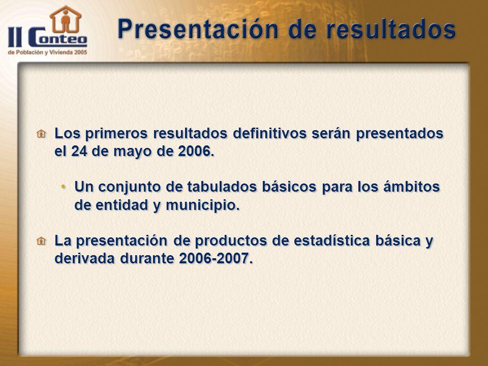Los primeros resultados definitivos serán presentados el 24 de mayo de 2006.