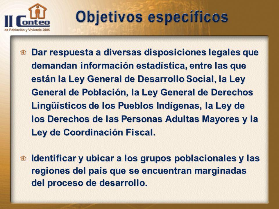 Dar respuesta a diversas disposiciones legales que demandan información estadística, entre las que están la Ley General de Desarrollo Social, la Ley General de Población, la Ley General de Derechos Lingüísticos de los Pueblos Indígenas, la Ley de los Derechos de las Personas Adultas Mayores y la Ley de Coordinación Fiscal.
