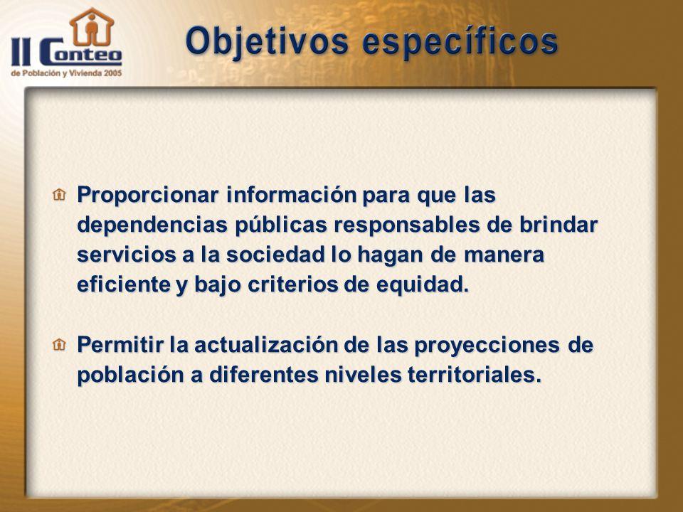 Proporcionar información para que las dependencias públicas responsables de brindar servicios a la sociedad lo hagan de manera eficiente y bajo criterios de equidad.