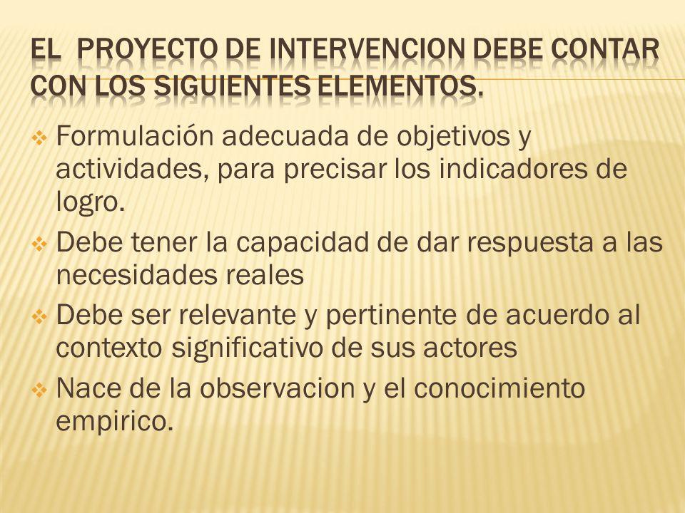 Formulación adecuada de objetivos y actividades, para precisar los indicadores de logro.