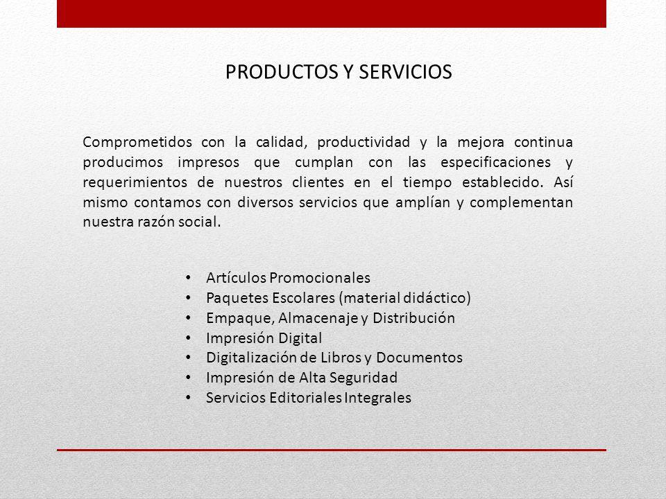Artículos Promocionales Paquetes Escolares (material didáctico) Empaque, Almacenaje y Distribución Impresión Digital Digitalización de Libros y Docume