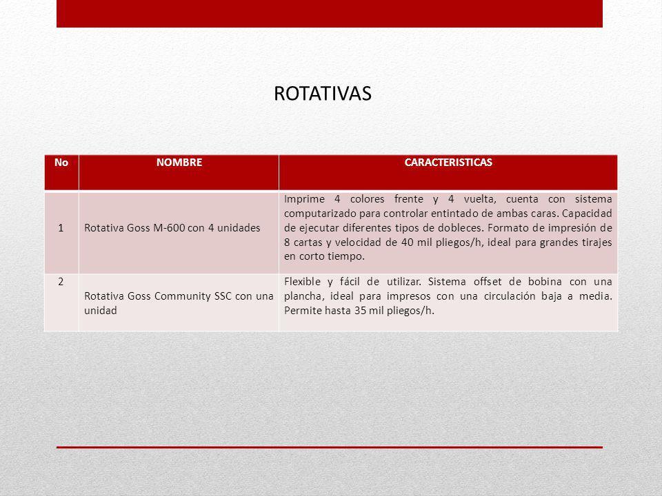 ROTATIVAS NoNOMBRECARACTERISTICAS 1 Rotativa Goss M-600 con 4 unidades Imprime 4 colores frente y 4 vuelta, cuenta con sistema computarizado para cont