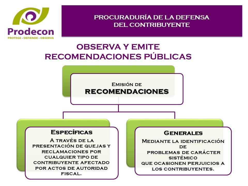 PROCURADURÍA DE LA DEFENSA DEL CONTRIBUYENTE PROCURADURÍA DE LA DEFENSA DEL CONTRIBUYENTE OBSERVA Y EMITE RECOMENDACIONES PÚBLICAS recomendaciones Emisión de recomendaciones Específicas A través de la presentación de quejas y reclamaciones por cualquier tipo de contribuyente afectado por actos de autoridad fiscal.