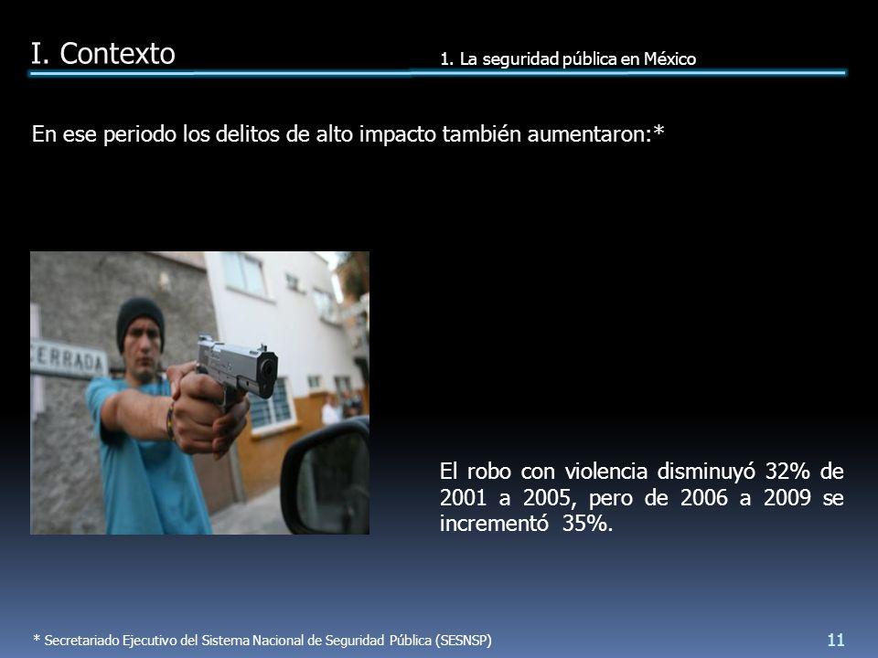 El robo con violencia disminuyó 32% de 2001 a 2005, pero de 2006 a 2009 se incrementó 35%.